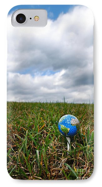 Earth Golf Ball On Tee Phone Case by Amy Cicconi