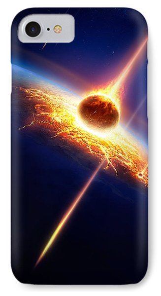 Earth In A  Meteor Shower Phone Case by Johan Swanepoel