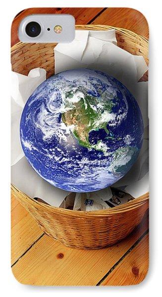 Earth In Bin IPhone Case by Victor De Schwanberg