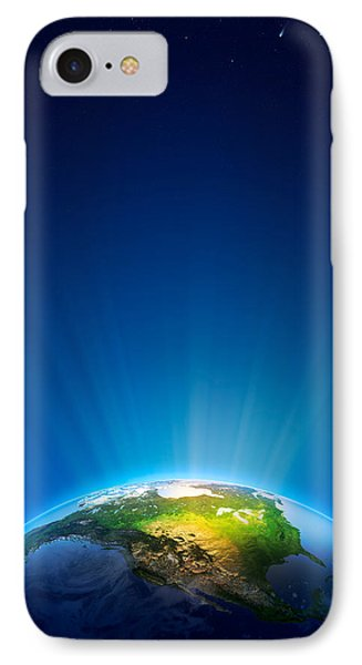 Earth Radiant Light Series - North America Phone Case by Johan Swanepoel
