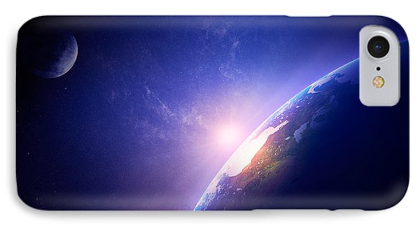 Earth Sunrise In Foggy Space IPhone Case