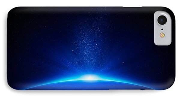 Beach iPhone 7 Case - Earth Sunrise In Space by Johan Swanepoel
