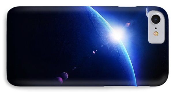 Earth Sunrise With Moon In Space IPhone Case