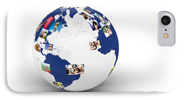 Earth With People Photos In Network IPhone Case