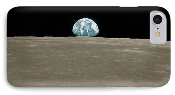 Earthrise Over Moon IPhone Case by Nasa