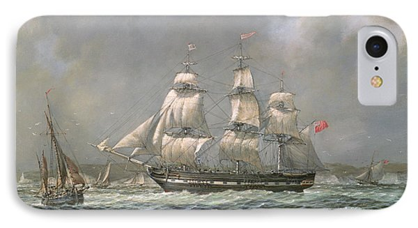 East Indiaman Hcs Thomas Coutts Off The Needles     Isle Of Wight IPhone Case by Richard Willis