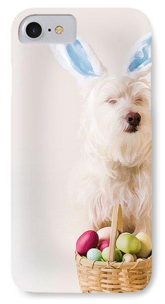 Easter Bunny Westie IPhone Case by Edward Fielding