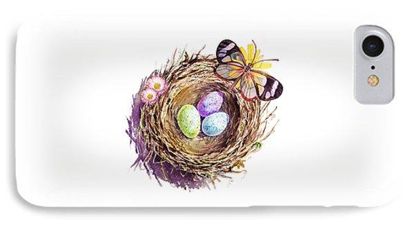 Easter Colors Bird Nest IPhone Case by Irina Sztukowski