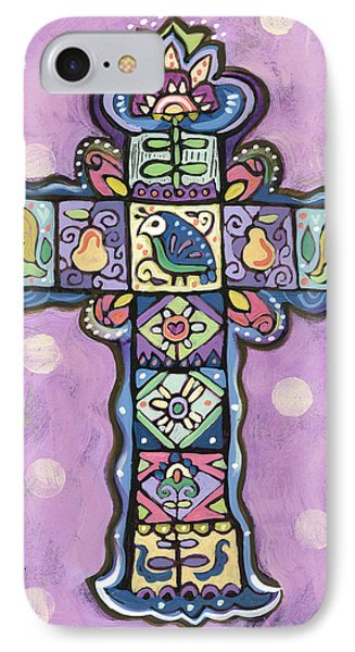 Easter Cross On Orchid IPhone Case by Jen Norton