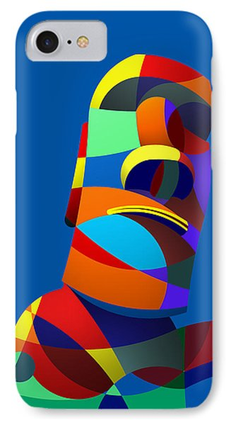 IPhone Case featuring the digital art Easter Island Blue by Randall Henrie