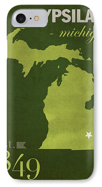 Eastern Michigan University Eagles Ypsilanti College Town State Map Poster Series No 035 IPhone 7 Case by Design Turnpike