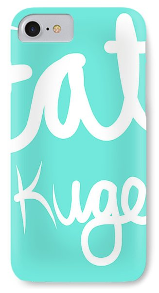 Eat Kugel - Blue And White IPhone Case by Linda Woods