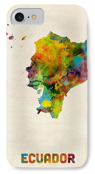 Ecuador Watercolor Map IPhone Case by Michael Tompsett