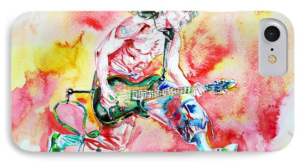 Eddie Van Halen Playing And Jumping Watercolor Portrait Phone Case by Fabrizio Cassetta