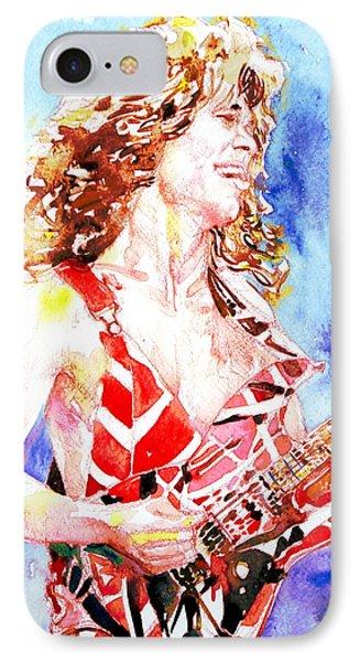 Eddie Van Halen Playing The Guitar.2 Watercolor Portrait Phone Case by Fabrizio Cassetta