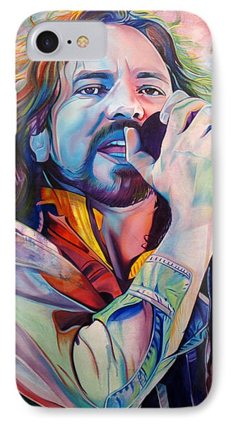 Eddie Vedder In Pink And Blue IPhone 7 Case by Joshua Morton