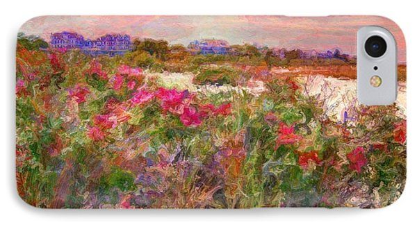 Edgartown Shoreline Roses - Horizontal  IPhone Case by Lyn Voytershark