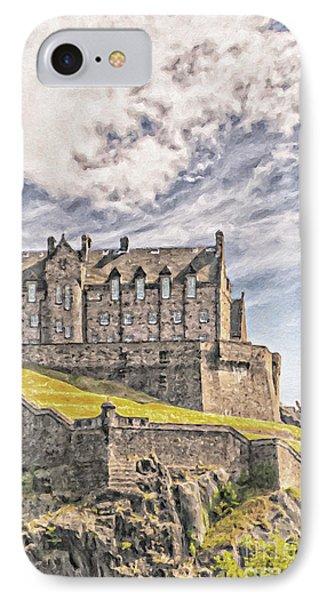 Edinburgh Castle Painting IPhone Case by Antony McAulay