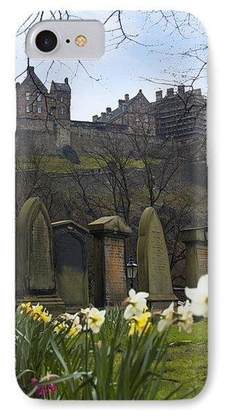 Edinburgh Graveyard And Castle IPhone Case by Mike McGlothlen