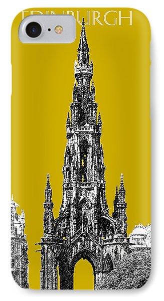 Edinburgh Skyline Scott Monument - Gold Phone Case by DB Artist