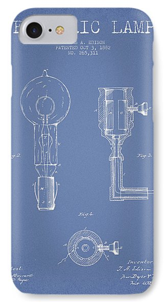 Edison Electric Lamp Patent From 1882 - Light Blue IPhone Case by Aged Pixel