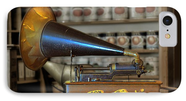 Edison Home Phonograph With Morning Glory Horn Phone Case by Christine Till