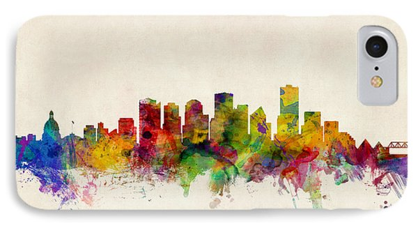 Edmonton Canada Skyline Phone Case by Michael Tompsett