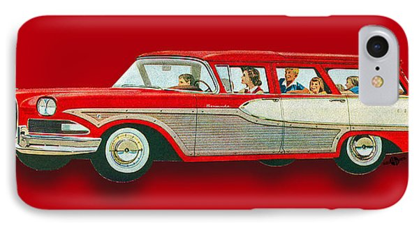 Edsel Car Advertisement Wagon Red IPhone Case by Tony Rubino