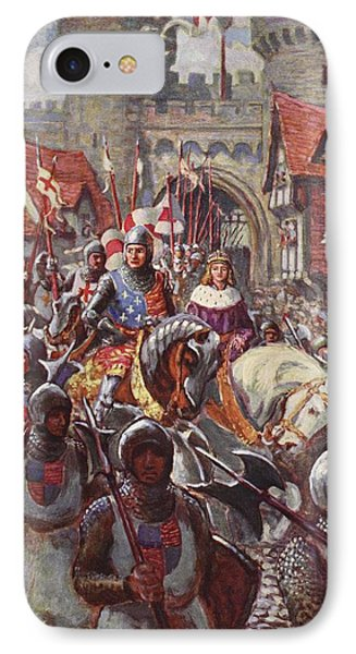 Edward V Rides Into London With Duke Phone Case by Charles John de Lacy