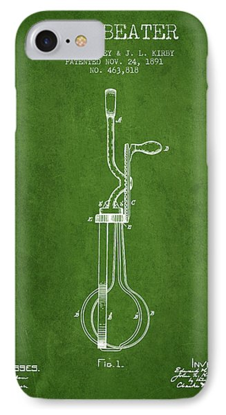 Egg Beater Patent From 1891 - Green IPhone Case