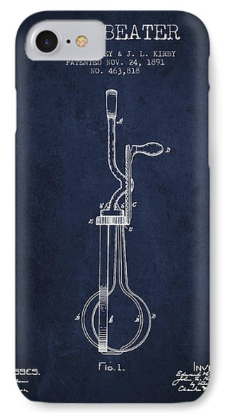 Egg Beater Patent From 1891 - Navy Blue IPhone Case