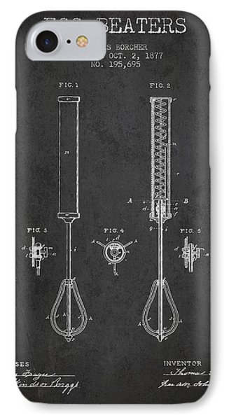 Egg Beaters Patent From 1877 - Dark IPhone Case