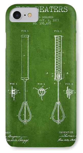 Egg Beaters Patent From 1877 - Green IPhone Case