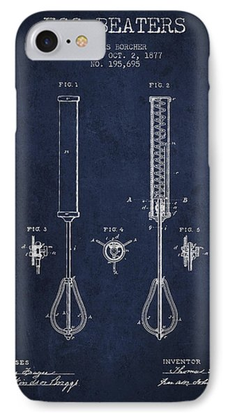 Egg Beaters Patent From 1877 - Navy Blue IPhone Case
