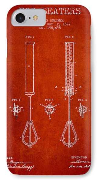 Egg Beaters Patent From 1877 - Red IPhone Case