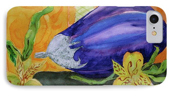 IPhone Case featuring the painting Eggplant And Alstroemeria by Beverley Harper Tinsley