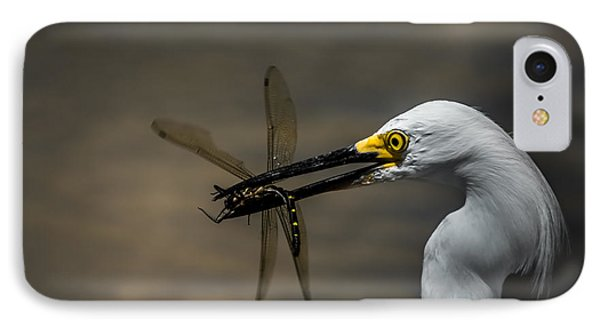 Egret And Dragonfly IPhone Case by Robert Frederick