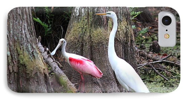 Egret And Spoonbill Phone Case by Theresa Willingham