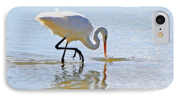 Egret Catches A Fish Phone Case by Tom Janca