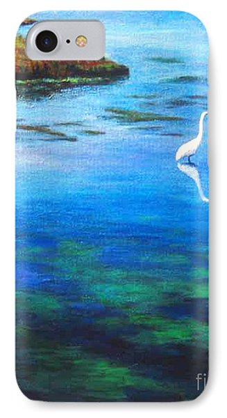 IPhone Case featuring the painting Egret by Cheryl Del Toro