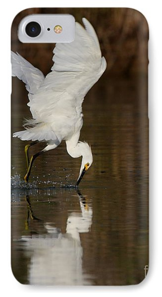 Egret Diving For Lunch IPhone Case by Ruth Jolly