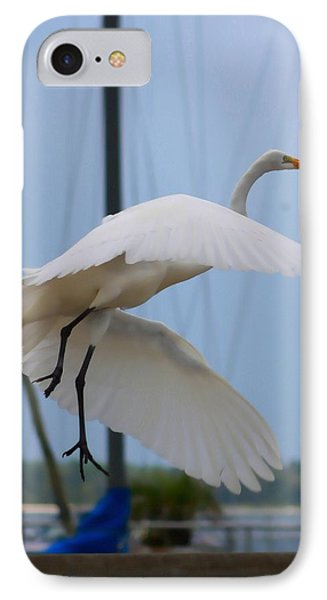 Egret In Flight Phone Case by Debra Forand