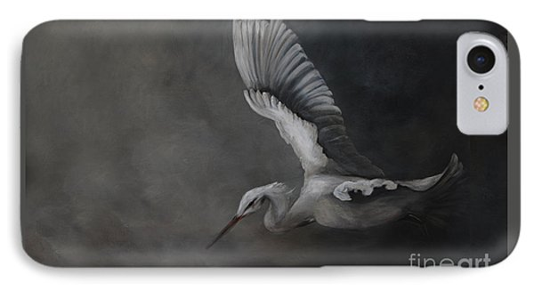 IPhone Case featuring the painting Egret In Flight by Nancy Bradley