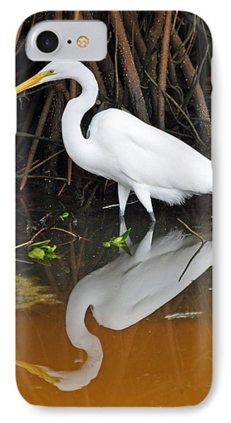 Egret Reflected In Orange Waters IPhone Case