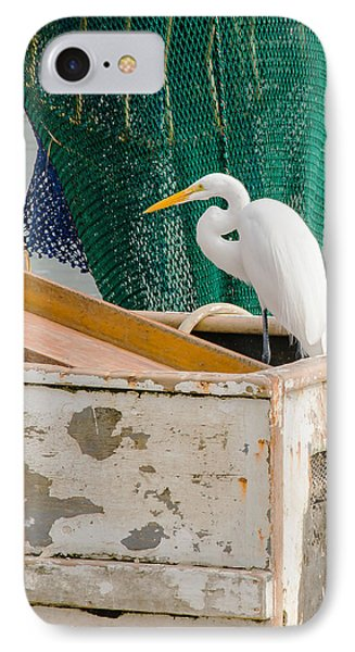 Egret With Fishing Net IPhone Case by Allen Sheffield