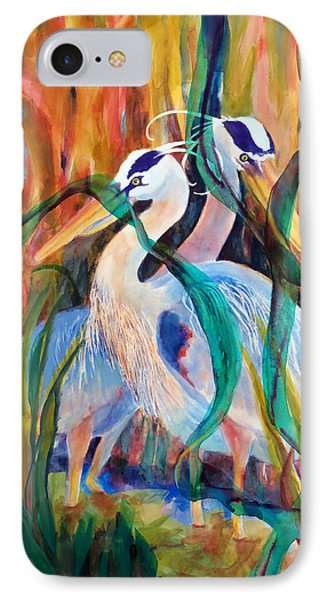 Egrets In Red 2            Phone Case by Kathy Braud
