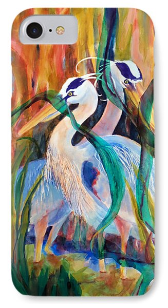 Egrets In Red 2            IPhone Case by Kathy Braud