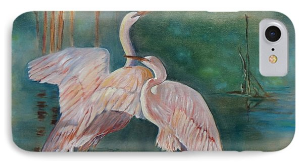 Egrets In The Mist IPhone Case by Jenny Lee