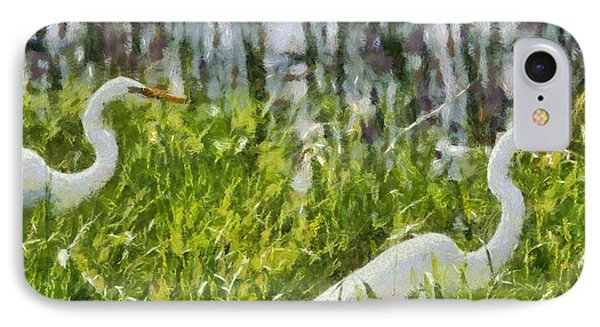 Egrets Painting IPhone Case by Dan Sproul