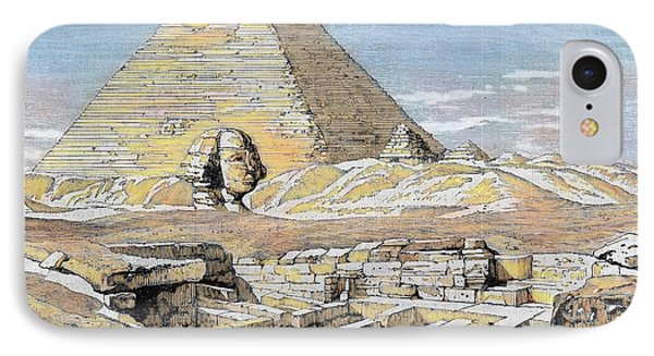 Egypt Pyramids And Sphinx Colored IPhone Case by Prisma Archivo